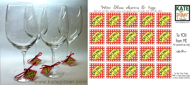 photograph relating to Printable Wine Glass Tags called In direction of Oneself in opposition to Me: Printable Wine Charms Reward Tags! - Kate